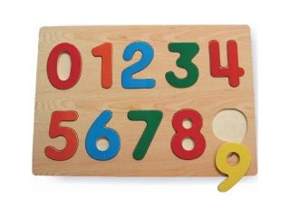 Raised Puzzle Number Wooden Game 0 9 Child Children Kids Kid Baby Wood Toy