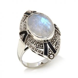 "Nicky Butler 5.30ctw Rainbow Moonstone Sterling Silver and Black Enamel ""Deco"" Ring   7978373"