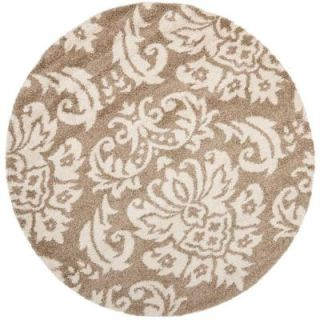 Safavieh Florida Shag Beige/Cream 5 ft. x 5 ft. Round Area Rug SG460 1311 5R