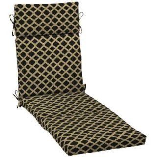 Hampton Bay Black Lattice Outdoor Chaise Lounge Cushion DISCONTINUED AD08853B 9D1