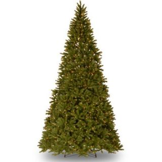 "National Tree Pre Lit 10 1/2' "" Feel Real Fraser Fir Medium Hinged Artificial Christmas Tree with 1250 Ready Lit Clear Lights and On/Off Switch"
