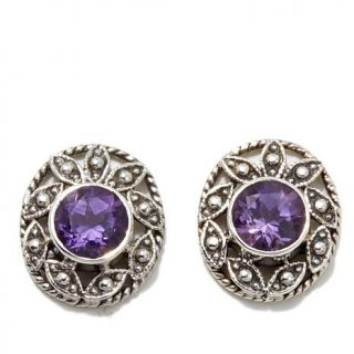 Nicky Butler 1.20ctw Amethyst Sterling Silver Oval Leaf Stud Earrings   8098037