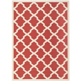 Safavieh Indoor/ Outdoor Courtyard Red/ Bone Polypropylene Rug (4 x 5