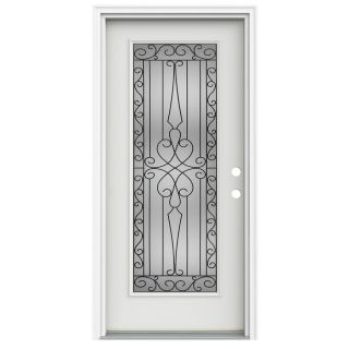 ReliaBilt Wyngate 1 Panel Insulating Core Full Lite Left Hand Inswing Arctic White Fiberglass Painted Prehung Entry Door (Common 36 in x 80 in; Actual 37.5 in x 81.75 in)