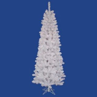 4.5' Pre Lit White Salem Pine Pencil Artificial Christmas Tree   Warm White LED Lights