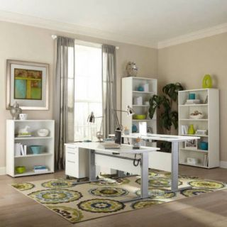 Tvilum Pierce Height Adjustable Desk, White and Silver