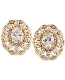 Carolee Gold Tone Oval Crystal Stud Earrings   Jewelry & Watches