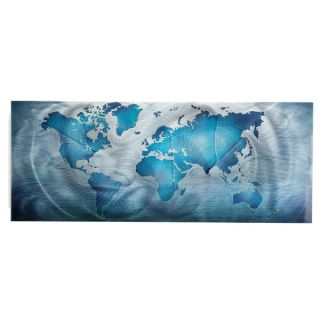 Land & Sea Modern World Map Metal Wall Art   15734021
