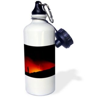 3dRose A man (MR) gets a close look at lava flowing into the Pacific Ocean, Volcanos National Park, Hawaii, Sports Water Bottle, 21oz
