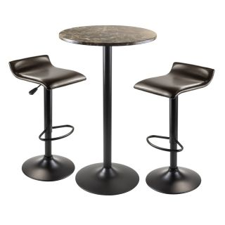 Winsome 76383 Cora 3 Piece Round Pub Table with 2 Swivel Stools