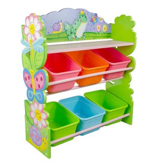 Fantasy Fields Magic Garden Hand Crafted Kids Wooden Toy Organizer with Storage Bins    Teamson Design Corp