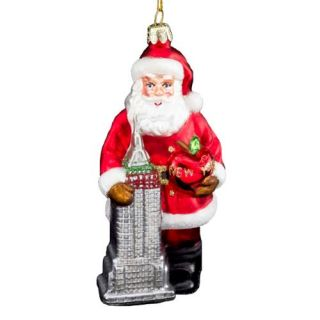 Kurt Adler Noble Gems Santa With Empire State Building Glass Christmas Ornament