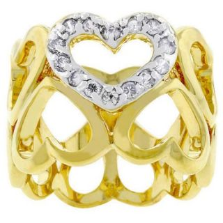 Kate Bissett Two Tone Oversized Pave Heart Cubic Zirconia Ring