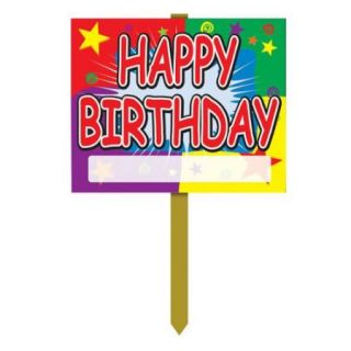 Pack of 6 Fun and Festive Colorful Happy Birthday Yard Sign Decorations 24""
