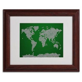 11 in. x 14 in. Soccer Balls World Map Matted Framed Art MT0247 W1114MF