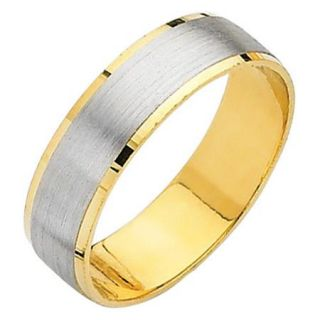 Precious Stars 14k Two tone Gold Men's Easy Fit Wedding Band
