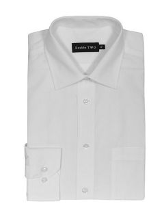 Double TWO King size long sleeve non iron poplin shirt White