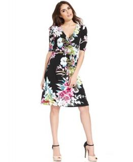 NY Collection Dress, Elbow Sleeve Tropical Print Faux Wrap   Dresses