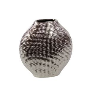 Urban Trends Ceramic Vase Chrome Silver