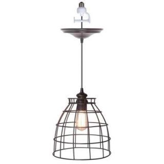 Worth Home Products 1 Light Brushed Bronze Instant Pendant Conversion Kit and Cage Shade PBN 5034 0011