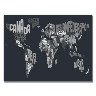 18 in. x 24 in. Font World Map VII Canvas Art MT0044 C1824GG
