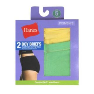 Hanes D49EAS Womens Cotton Stretch Boy Briefs Assorted Size 6