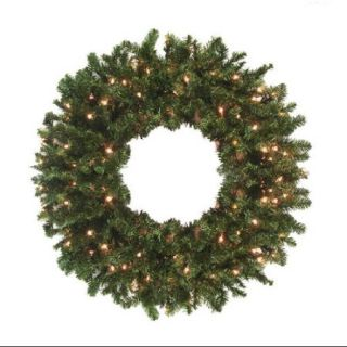 "30"" Pre Lit Canadian Pine Artificial Christmas Wreath   Clear Lights"