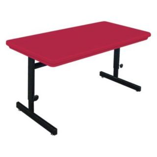 Blow Molded Adjustable Height Computer Table (24 in. x 48 in./Red)