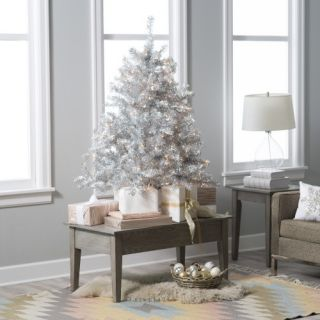 4.5 ft. Classic Silver Clear Pre Lit Full Tabletop Christmas Tree   Christmas Trees