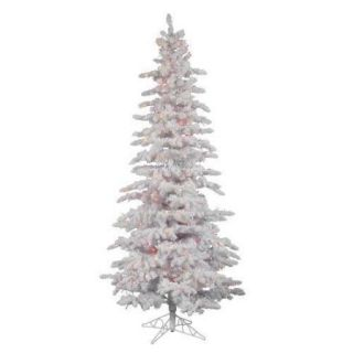 6.5' Pre Lit Flocked White Spruce Slim Artificial Christmas Tree   Multi LED