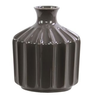 Urban Trends Ceramic Vase SM Corrugated Gloss Dark Brown
