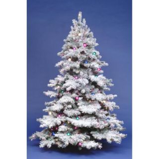 Vickerman 9Ft. Flocked White on Green 2059T Christmas Tree 1200 Clear Dura Lit