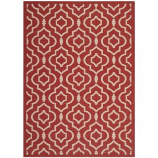 Safavieh Indoor/ Outdoor Courtyard Contemporary Red/ Bone Rug (53 x