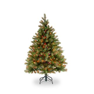 Downswept Douglas Fir Hinged Tree, Feel Real'   450 Multi Lights   4 foot x 1/2 inch    National Tree Company