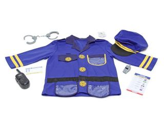 Police Officer Role Play Costume Set with Cap & Badge