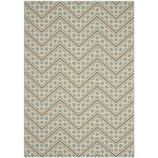 Safavieh Hampton Light Blue and Ivory Rectangular Indoor/Outdoor Woven Area Rug (Common 6 x 9; Actual 79 in W x 114 in L x 0.42 ft Dia)