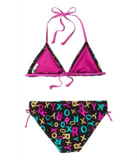 Roxy Kids Pop Logo Tiki Tri Two Piece (Big Kids) True Black