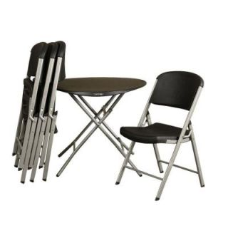 Lifetime 33 in. Round Personal Table in Black and Commercial Chair Combo in Black (4 Pack) 80438