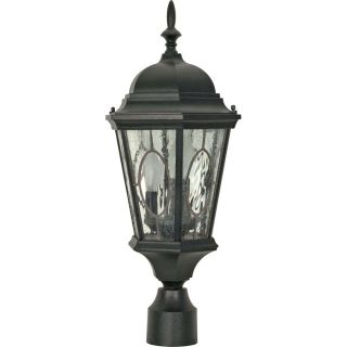 9.55 in W Textured Black Outdoor Flush Mount Light
