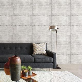 Brewster 56 sq. ft. Light Grey Smooth Concrete Geometric Wallpaper 2701 22314