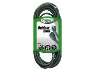 Coleman Cable 02352 05 20' 16/3 Green 3 Conductor Vinyl Outdoor Landscape Extension Cord