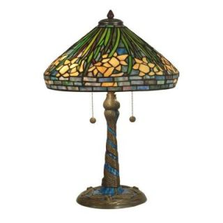 Dale Tiffany 23 in. Daffodil Art Glass Table Lamp with Antique Verde Mosaic Base DISCONTINUED TT10344