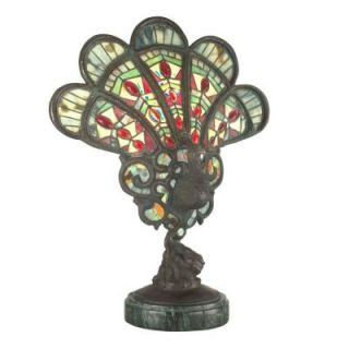 Dale Tiffany Red Jeweled 16 in. x 20 in. Peacock Table Lamp 0054