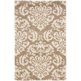 Safavieh Florida Shag Beige/Cream 4 ft. x 6 ft. Area Rug SG460 1311 4