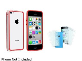 Insten Clear / Red TPU Bumper with 6 Pack Front / Back Screen Protector Compatible with Apple iPhone 5C 1664669