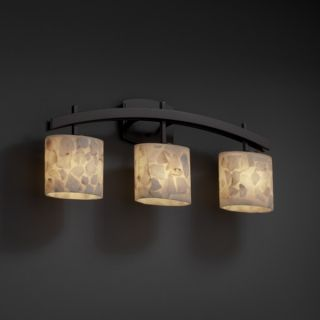 Justice Design Group 3 light Arch Alabaster Rocks Dark Bronze Bath Bar
