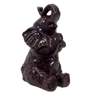 Urban Trends Ceramic Trumpeting and Sitting Up Elephant with Arms