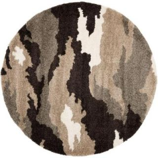 Safavieh Florida Shag Beige/Multi 6 ft. 7 in. x 6 ft. 7 in. Round Area Rug SG453 1391 7R