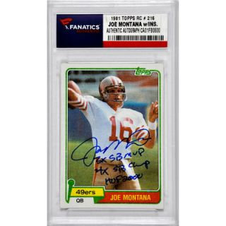 Joe Montana San Francisco 49ers  Authentic Autographed 1981 Topps #216 Rookie Card with Multiple Inscriptions