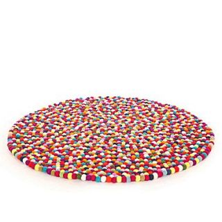 Walk On Me Happy as Larry Original Felt Ball Kids Round Rug; Round 5
